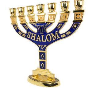 Menorah-Seven-branched-Candle-Holder-Jerusalem-Blue-Enamel-Israel-Judaica-6-034