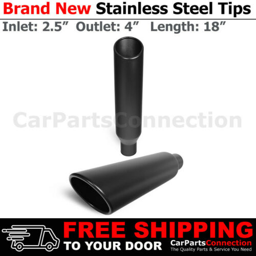Weld-On Truck Angled Black 18 inch Exhaust Muffler Tip 213573 2.5 In 4 Out x2
