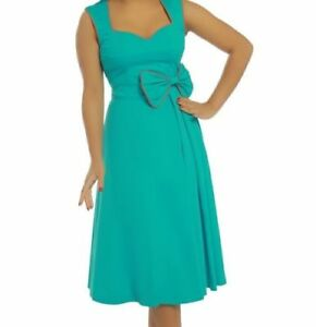 NEW-LINDY-BOP-039-GRACE-039-TURQUOISE-50s-VINTAGE-STYLE-BOW-DETAIL-COTTON-SWING-DRESS