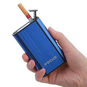 Cigarette-Case-Lighter-Automatic-Ejection-Butane-Windproof-Metal-Box-Holder-SI