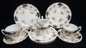 Details about Vintage Lot of ENGLISH BONE CHINA Cups Saucers Plates &  Creamer HAND TINTED Ivy