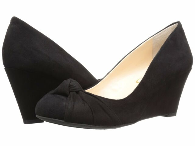 47e8184ff696 Jessica Simpson Siennah Women Open Toe Suede Black Wedge Heel 5.5 ...