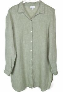 J-Jill-Womens-100-Linen-Tunic-Top-Shirt-Size-XL-Button-Front-Long-Sleeve-Green