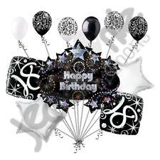 11 pc 18th Happy Birthday Balloon Decoration Party Elegant Adult Black White