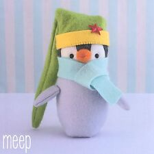 MEEP PENGUIN - Felt Sewing Craft PATTERN - Soft Toy Primitive Christmas