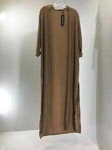 Boohoo-Women-s-Isabella-Turn-Up-Cuff-Maxi-Duster-W-Side-Splits-Camel-US-8-NWT