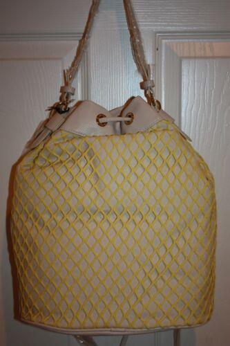 Details about  /NEW NWT CHARLOTTE RONSON Natural Yellow Mesh Drawstring Hobo Crossbody Bag $138