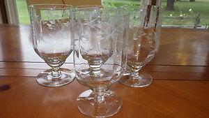 Cut Glass Water Glasses Goblets Optic Panel WHeel Cut FLoral Morgantown 4 14oz
