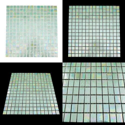 URBN Contemporary Seafoam Green Iridescent Glass Mosaic Tile for Kitchen and...