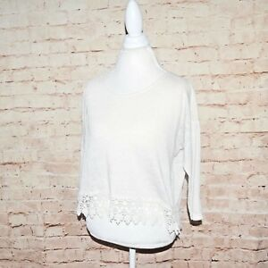 db8ae88ce6 Forever 21 F21 Womens Boho Ivory Crochet Lace Trim Long Sleeve Top ...