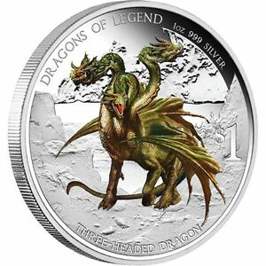 2013 $1 Dragons of Legend. Three Headed Dragon. 1oz Silver Proof Coin Perth Mint