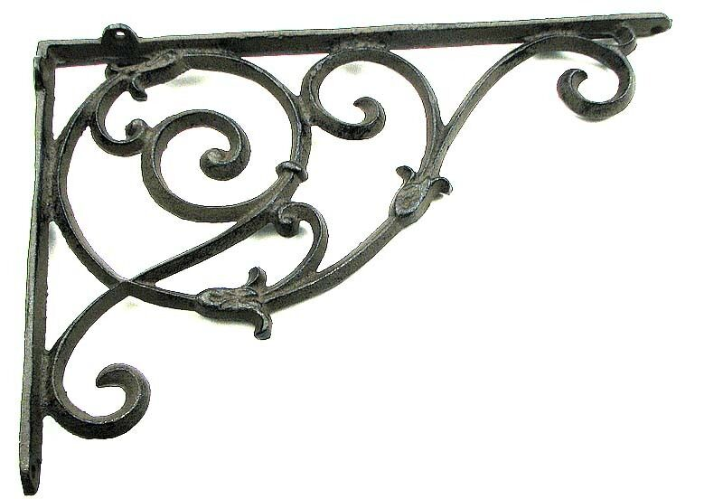 "9/"" x 9/"" Brace Set of 6 Extra Large Cast Iron Expresso Scroll Shelf Bracket"