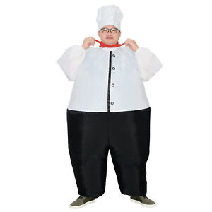 Inflatable Chef mascot Costumes Unisex Blow-up for Cook Masterchef Halloween