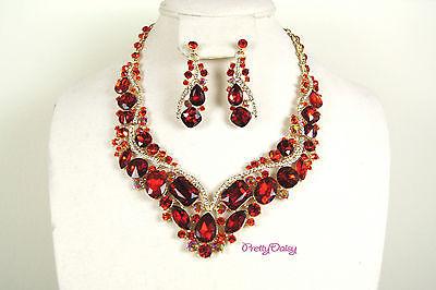 Women Bridal Wedding Jewelry Crystal Rhinestone Necklace Earrings Prom Party Set