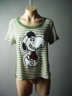 Dog Cartoon Comic Strip Sequin Snoopy Mixed Media Stripe Top 102 mv Blouse S M L
