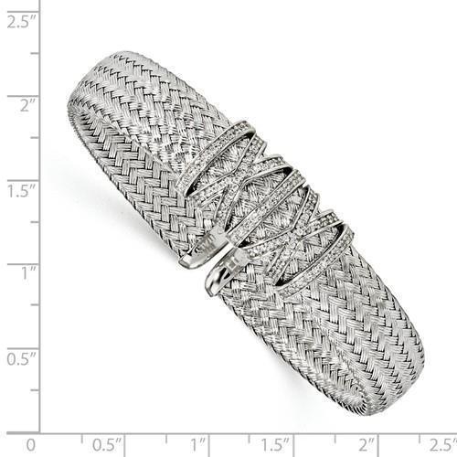 Platinum Sterling Silver White Sapphire Italy Mesh Pave Design Bangle Bracelet