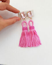 pink Oscar De La Renta style short loop silk tassel earrings on studs