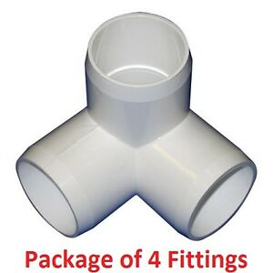 34 Furniture Grade 3 Way Corner Elbow Pvc Fitting 4 Pack Ebay