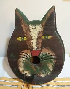Vintage Cat Face/Head Painted Birdhouse Distressed Wood Folk Art Style Decor