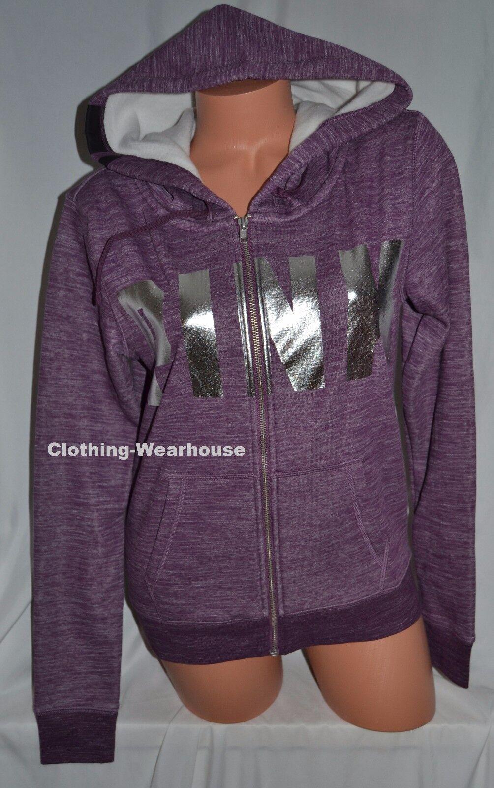 Victoria's Secret PINK Cozy Fleece Soft Lined Full Zip Hoodie Purple Marl S NEW