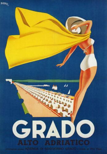 TV65 Vintage 1940/'s A3 Grado Alto Adriatico Italy Italian Travel Poster Reprint