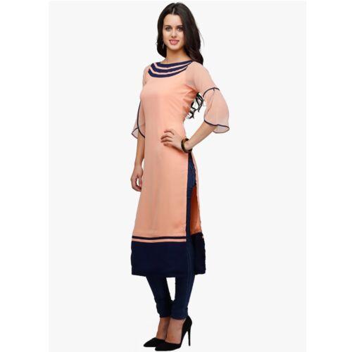 Women/'s Kurta Kurti Peach Georgette 3//4 seleeve été Casual Tunique Wear