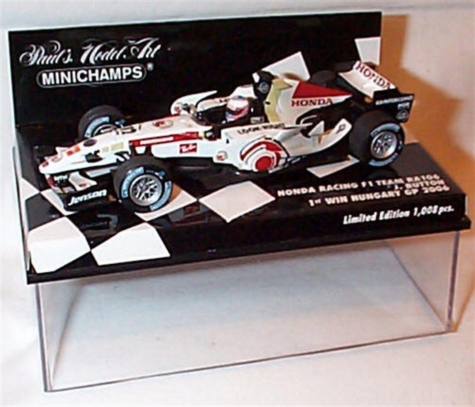 Nouveau 1 43 MINICHAMPS 400060412 HONDA RA106, vainqueur de la Hongrie GP 2006, bouton, SALE