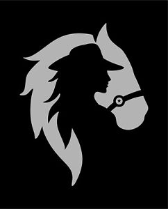 Reflective Horse Cowgirl Decal Car Truck SUV Window Bumper Wall Laptop Tablet