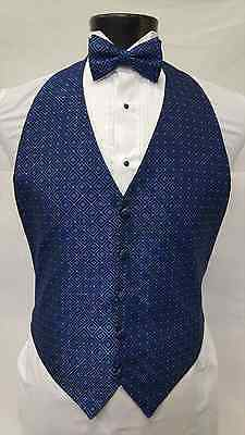 Mens Fit All BLUE DIAMOND Tuxedo Vest With Matching Bow Tie One Size Tie Set