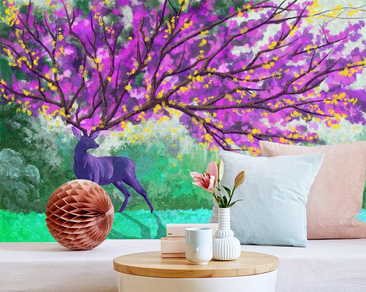 3D Albero,lila Parete Murale Foto Carta da parati immagine sfondo muro stampa