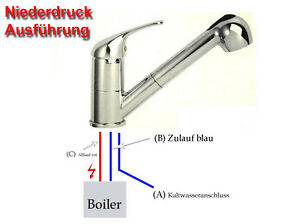 BELLAQUA-Kuechen-Spueltischarmatur-Niederdruck-m-brause-Eco-Click-Verbruehschutz