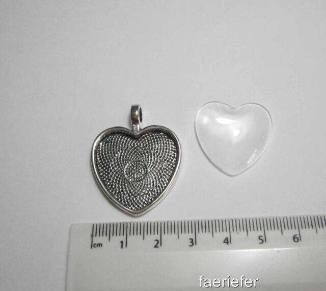 """1 silver plated 1"""" 25mm Heart shaped Cabochon Setting pendant + glass dome seal"""