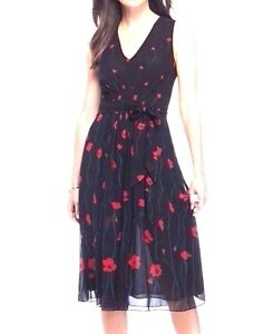 Anne Klein Black Red Floral Chiffon Fit Amp Flare Pleated