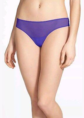 Women/'s Josie by Natori Cheeky Fishnet Overlay Thong Panty Purple Size M