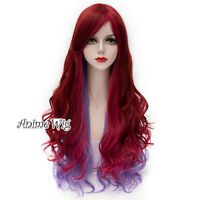 Lolita Long 80cm Curly Red Mixed Purple Fashion Party Cosplay Fancy Women Wig