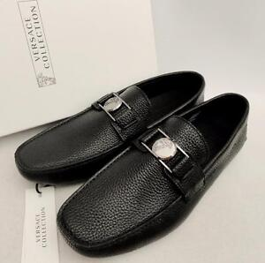 75f7a81aa Image is loading VERSACE-COLLECTION-Medusa-Black-Leather-Loafers-Shoes-UK7-