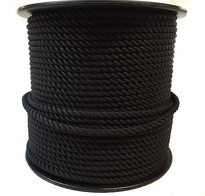 anchor ropes boats 12mm x 50 Metre Reel black nylon 3 strand rope moorings