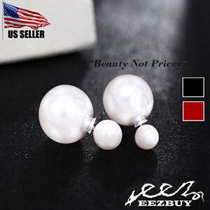 Womens-Celebrity-Runway-Double-Pearl-Beads-Plug-Earrings-Ear-Studs-Pair