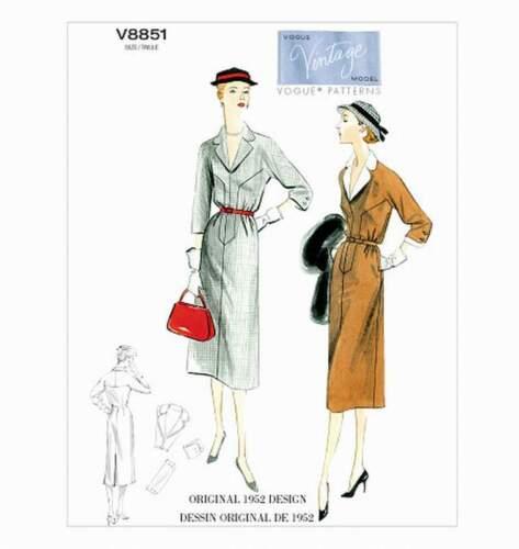 ; talla 32-40 Patrones de corte días vestido de 1952 8851