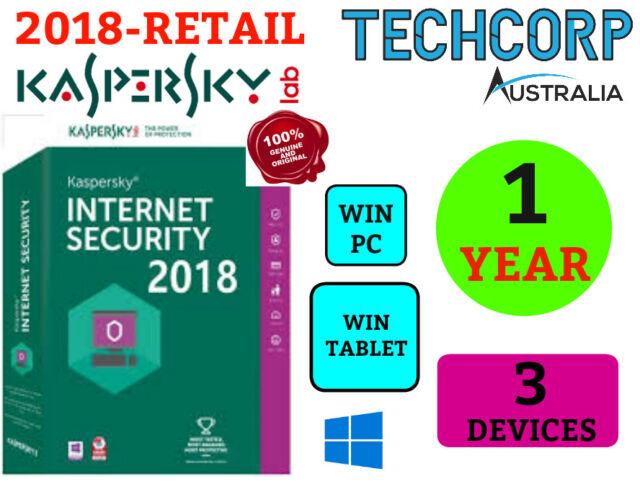NEW Kaspersky Internet Security Antivirus 2018 - 3 Devices Retail WINDOWS 1 Yr