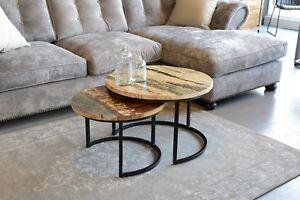 Dettagli su Set di Due Retrò Industriale Tavolini Salotto Legno di Mango  Tondo Metallo