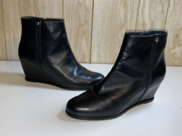 STUART WEITZMAN SLIDEIN WEDGE BLACK LEATHER BOOTIE BOOTS SZ 8.5