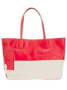 6cb520c6a93e Tory Burch  T  Stacked East West Red Natural Tote Hobo Shoulder ...