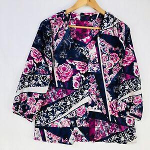 Tokito-Size-8-3-4-Sleeve-Top-Blouse-Shirt-Slightly-Sheer-Blue-Print-Flower-Work