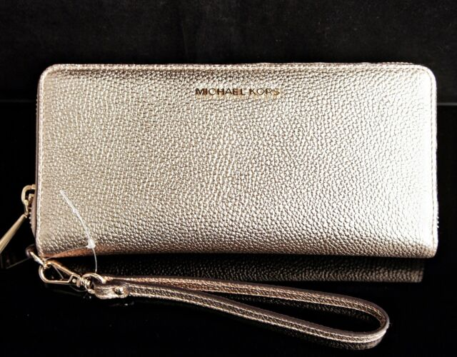 9436a78ae41a Michael Kors Mercer Travel Leather CONTINENTAL Wristlet Wallet Pale ...