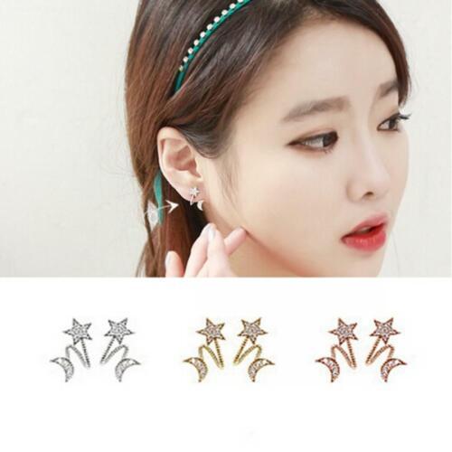 des bijoux charme crystal star lune pierre oreille clip les boucles d/'oreilles