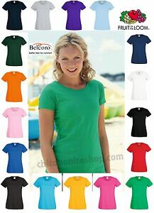 T-SHIRT-DONNA-FRUIT-OF-THE-LOOM-TUTTI-I-COLORI-MAGLIA-613720-LADY-FIT-SAGOMATA