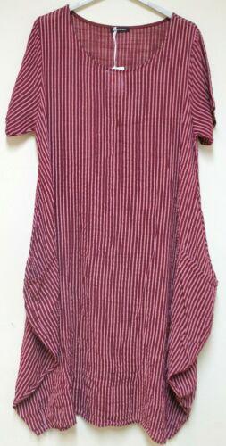 New Ladies Lagenlook Italian Quirky Striped Linen 2 Pocket Scoop Neck Long Dress