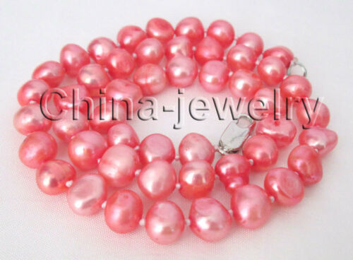 "P8060-17/"" 8-9 mm Naturel Rouge Baroque Freshwater Pearl Necklace-GP Fermoir"