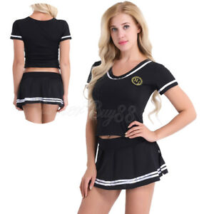 e0b15a94c57 Image is loading Sexy-Ladies-Cheerleader-Uniform-Lingerie -School-Girl-Outfit-